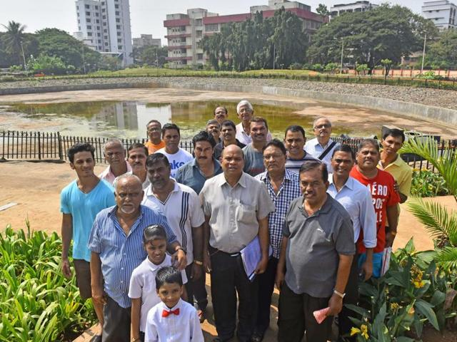 Members of the Kolovary Welfare Association at the pond that was unofficially inaugurated by the Brihanmumbai Municipal Corporation on October 30.