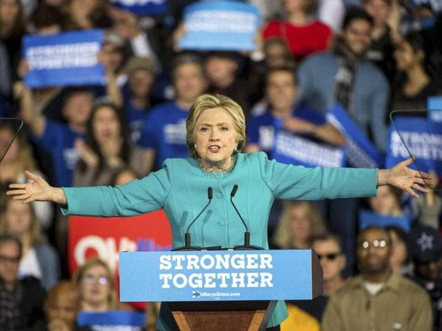 Democratic presidential candidate Hillary Clinton speaks during a campaign rally at Cleveland Public Hall in Cleveland no November 6.