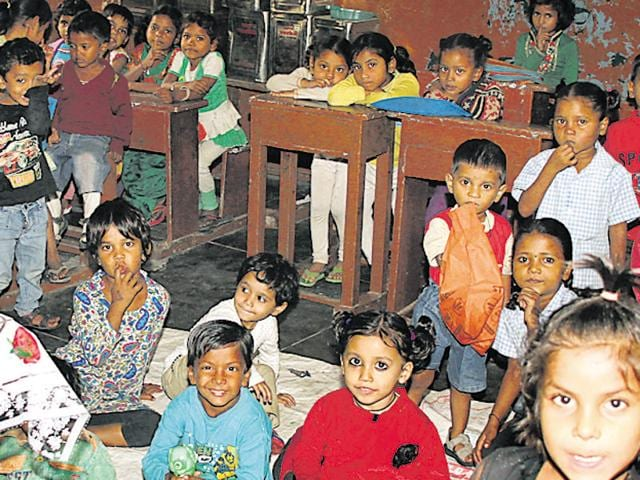 Students in the classroom of anganwadi centre at a government school in Govind Nagar in Ludhiana on Sunday.