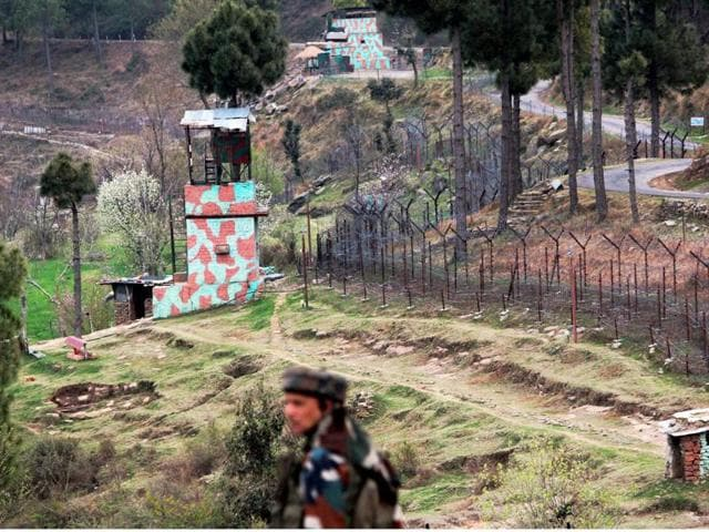 A view of an Indian border post near fencing on the Line of Control (LoC) in Balakot Sector in Poonch.