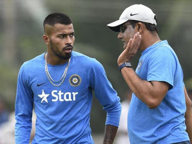 Hardik Pandya and Anil Kumble in a conversation during India Team's training session.