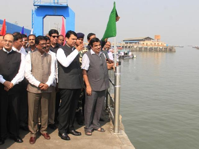 Chief minister Devendra Fadnavis and Union minister Nitin Gadkari during the foundation stone laying ceremony at Ferry Wharf on Monday.