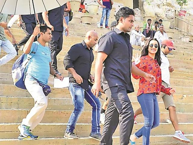 Shradha Kapoor shooting at Maan Mahel Ghat in Varanasi.