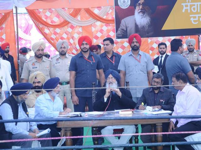 Chief minister Parkash Singh Badal during the sangat darshan program in Fatehgarh Sahib.