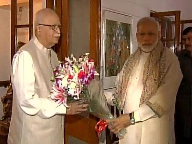 Prime Minister Narendra Modi on Tuesday greeted BJP veteran LK Advani on his 88th birthday, in New Delhi.