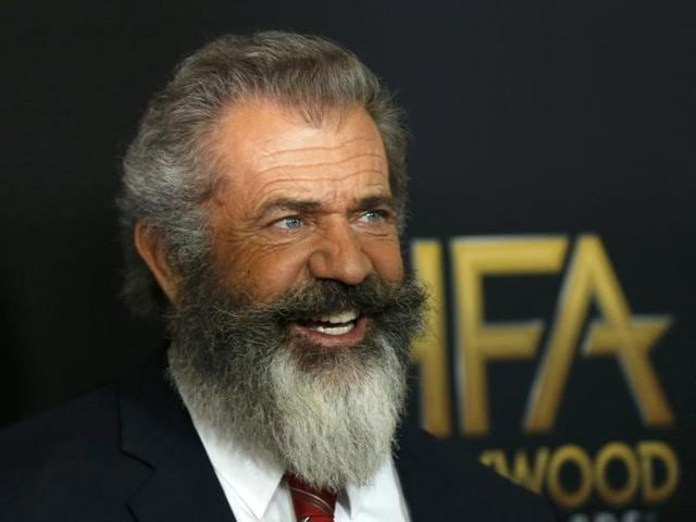 Actor Mel Gibson arrives at the Hollywood Film Awards in Beverly Hills, California.