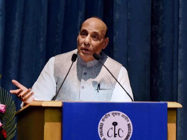 Union home minister Rajnath Singh deliberates during the 11th Annual Convention of the Central Information Commission in New Delhi on Monday.