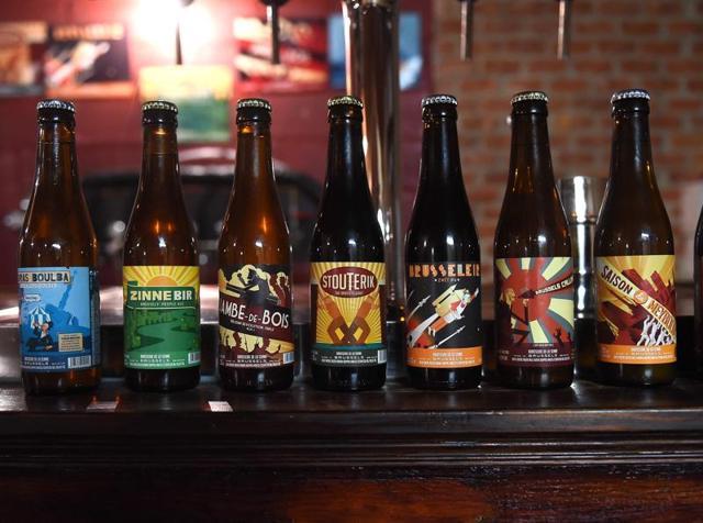 Beer bottles on display.