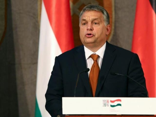 Hungarian Prime Minister Viktor Orban gives a speech during his visit at the Bavarian state parliament in Munich, Germany, on October 17, 2016.