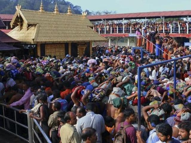 Worshippers queue during a pilgrimage at the Sabarimala temple in Kerala