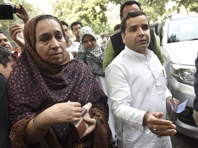 Missing JNU student Najeeb Ahmed's mother Fatima Nafees along with Samajwadi Party leader and MP from Badaun arrives for a meeting with home minister Rajnath Singh at his residence Akbar road in New Delhi, India, on Tuesday.