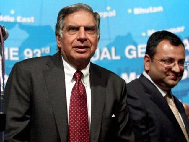 File photo of Ratan Tata with Cyrus Mistry. Even as the fight intensifies at Tata Sons, Tata Group companies including Tata Motors, Tata Steel, TCS have already registered for final placements across the IITs and IIMs.