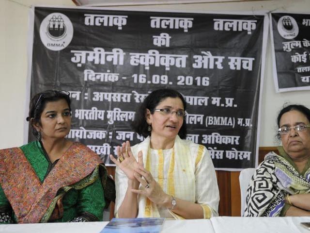 Founder of Bhartiya Muslim Mahila Andolan - Zakia Sonam (Centre) addressing a press conference on Muslim women demanding legal abolition of triple talaq in Bhopal, India, on Saturday, September 17, 2016. Co-founder Noorjehan Safia Niaz and state convener Safia Akhtar accompanied too.