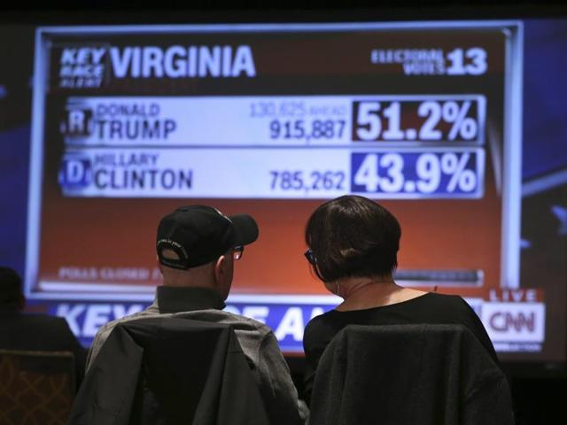 A couple sits and watches election night results at a watch party for Pennsylvania Democratic Senate candidate Katie McGinty in Philadelphia.