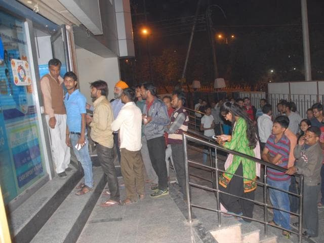 There were long queues outside ATMs in Noida and Ghaziabad on Tuesday night.