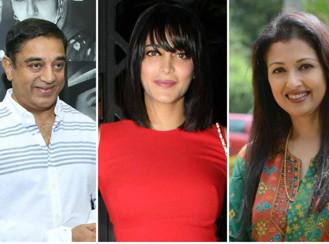 Speculations are rife that Shruti Haasan (C) is the reason behind the separation of Kamal Haasan and and his live-in partner of over a decade, Gautami Tadimalla (R).