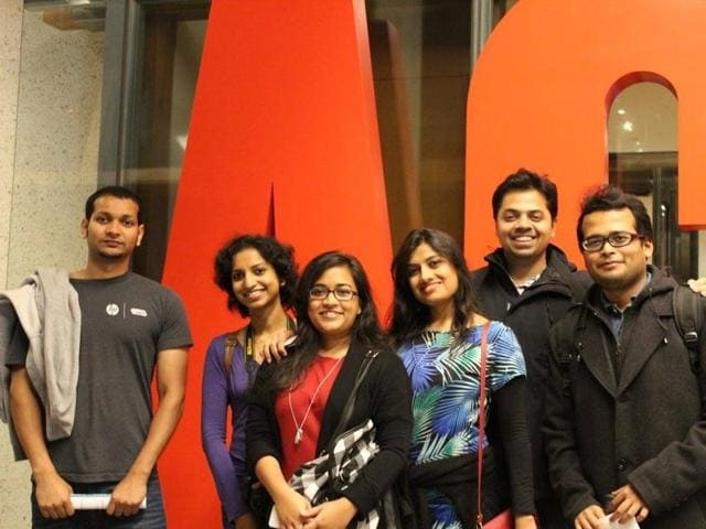 Indians in Canada (from left) Ankit Jain, Sushmita Prasad, Shrestha Roy Goswami, Medha Sharma, Shehbaz Jaffer, and Tirthankar Mitra at the Art Gallery of Ontario on Nuit Blanche - a cultural fest.