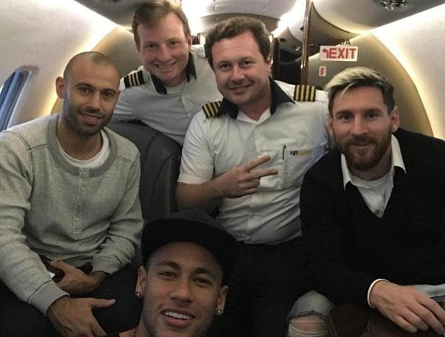 FC Barcelona mates Neymar, Javier Mascherano (left) and Lionel Messi were heading to Belo Horizonte where Brazil were taking on arch-rivals Argentina in a 2018 World Cup qualifier match.