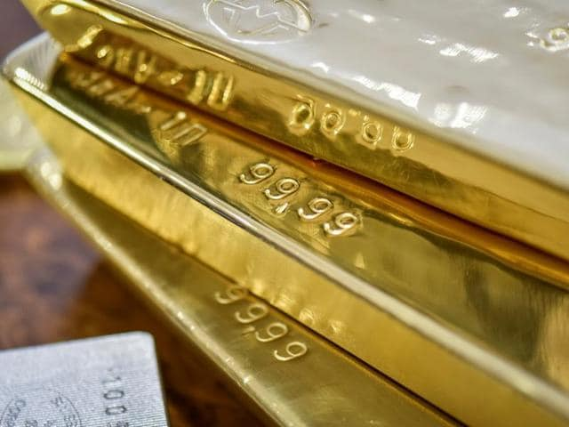 Gold bars are seen at the Kazakhstan's National Bank vault in Almaty, Kazakhstan.