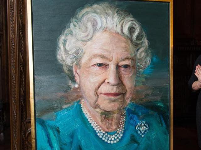 Britain Queen,Queen Elizabeth portrait,Irish artist