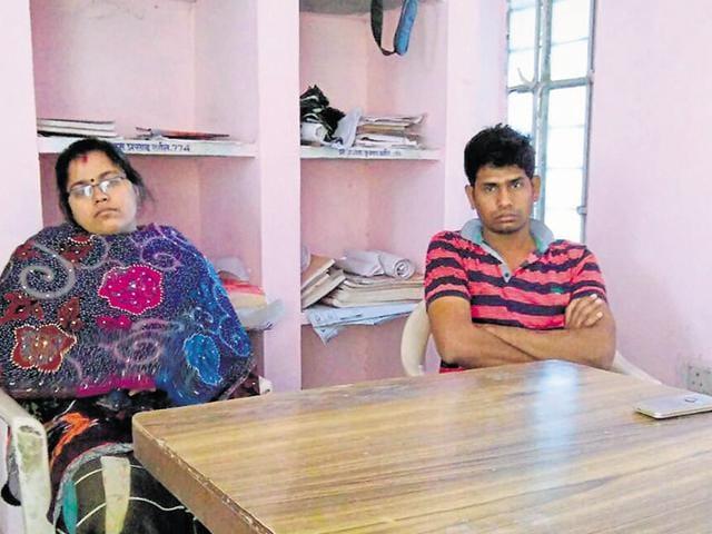 Chhabra municipality chairperson Pinky Sahu (left) and her husband Jitendra.