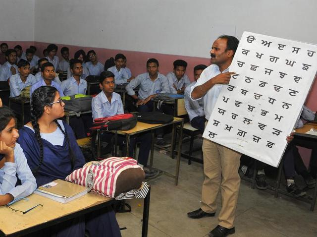 Students attending Punjabi class at GMSSS, Sector 46, in Chandigarh on Tuesday.