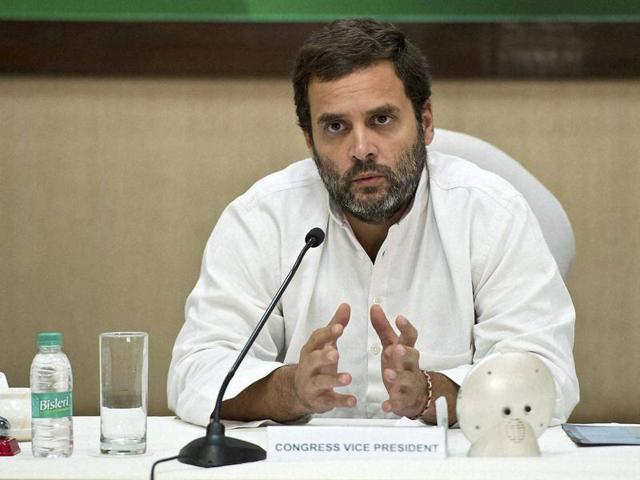 Congress vice-president Rahul Gandhi at Congress Working Committee meeting at AICC HQ in New Delhi on Monday.