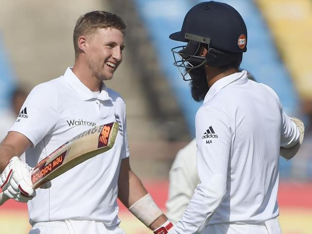 England's Moeen Ali plays a shot.