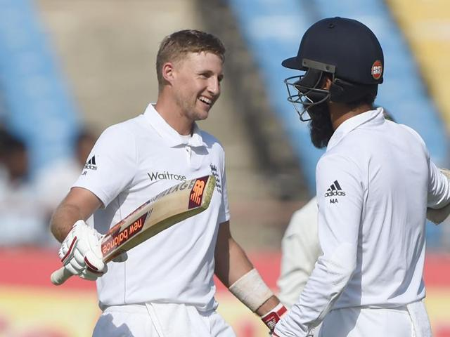 England's Joe Root struck a brilliant century, his first in the Indian sub-continent and third against India to givet the visitors the upper hand on the first day of the Rajkot Test on Wednesday-