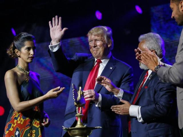 Supporters listen to Republican Donald Trump at an event by the Republican Hindu Coalition in New Jersey on October 15, 2016. Trump directly appealed to Indian Americans, saying he loved Hindus.