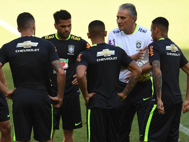 Neymar during practice ahead of the World Cup qualifier against Argentina.
