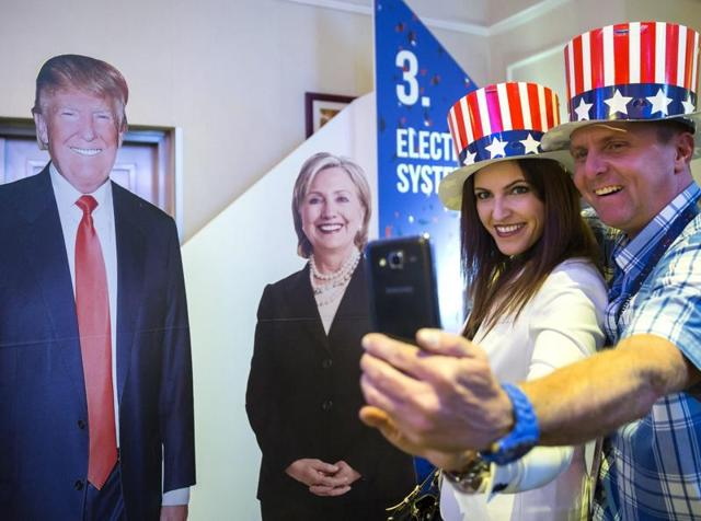 Republican presidential nominee Donald Trump and his wife Melania Trump vote at PS 59 in New York on Election Day.