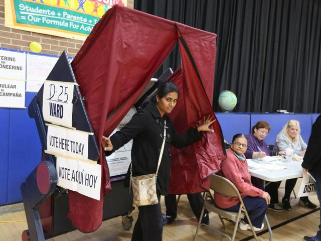 Indian American voters casting their votes in Jersey city, New Jersey on Tuesday.