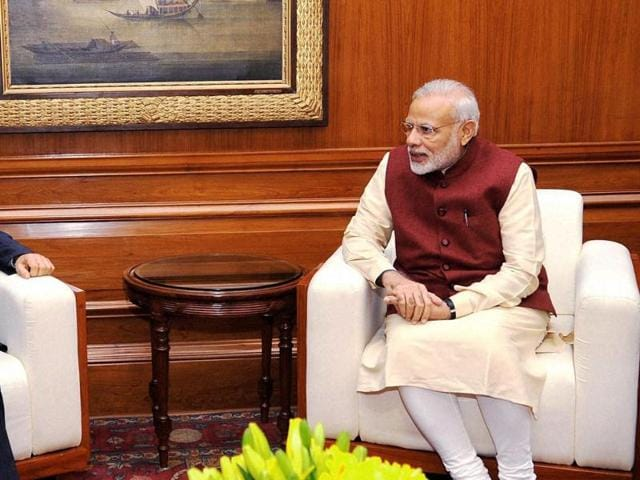 Prime Minister Narendra Modi meeting with secretary of the central political and legal affairs commission of the Communist Party of China, Meng Jianzhu in New Delhi on Wednesday.(PTI Photo)