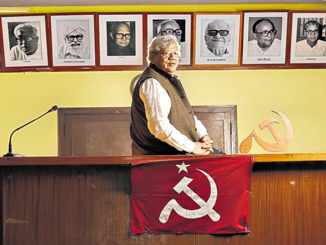 Leader of the Communist Party of India, Sitaram Yechury, at the CPI Party headquarters in New Delhi.