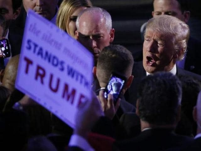 US President-elect Donald Trump greets supporters at his election night rally in Manhattan, New York, US.