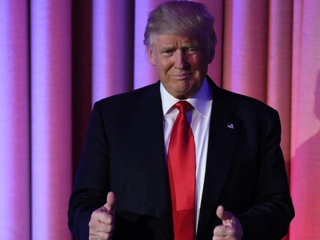 Republican presidential elect Donald Trump speaks during election night at the New York Hilton Midtown in New York on November 9, 2016.