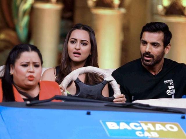 John Abraham and Sonakshi Sinha on the sets of Comedy Nights Bachao.