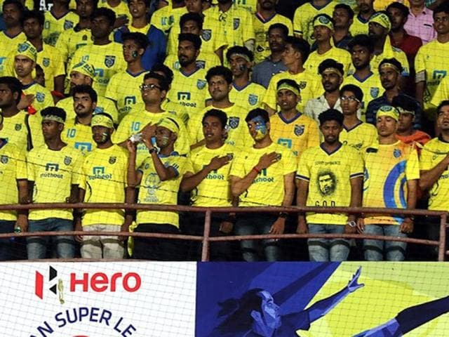 On October 14, before the Kerala Blasters FC vs Mumbai CIty FC match at Kochi's Jawaharlal Nehru Stadium, the home team players and player escorts kept their hands on their chest during the National Anthem. The audience at the stands imitated the players thereafter.(HT Photo)