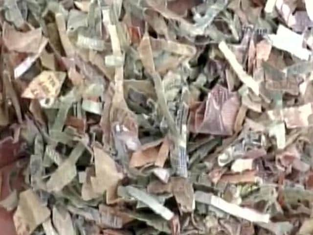 Shredded currency notes were found in two sacks in Bareilly.