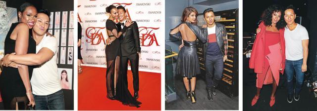 Prabal Gurung's designs wore by (from left ) Jennifer Hudson, Zoe Saldana, Priyanka Chopra, and Solange Knowles