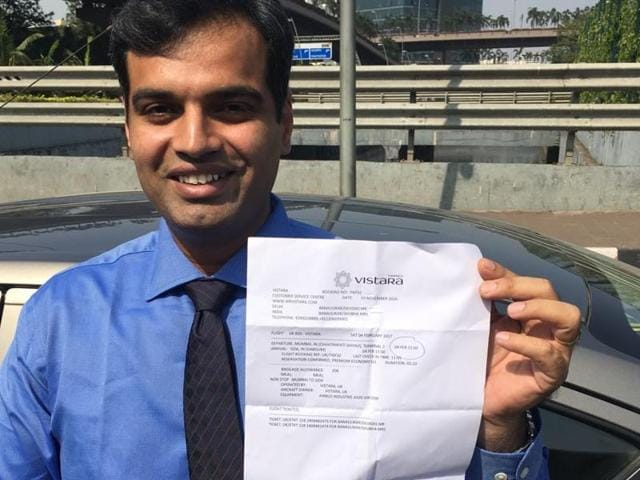 Vasai resident Chinmay Gavankar purchased Goa-Mumbai Vistara tickets to travel almost three months later.