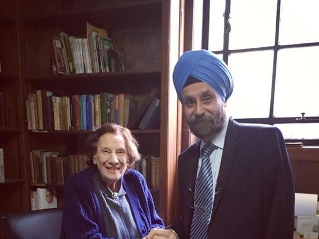 Maureen Travis with Navtej Sarna, who recently moved from London to Washington as India's ambassador.