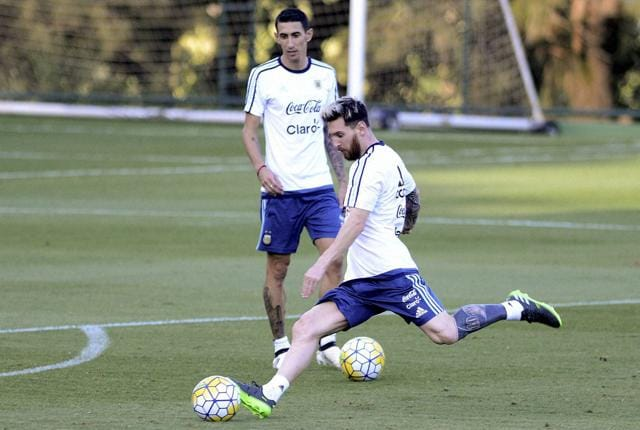 Argentina's Lionel Messi during a training session in Belo Horizonte, Brazil, on Tuesday. Argentina will face Brazil in a 2018 World Cup qualifying match on Thursday (Friday early morning IST).