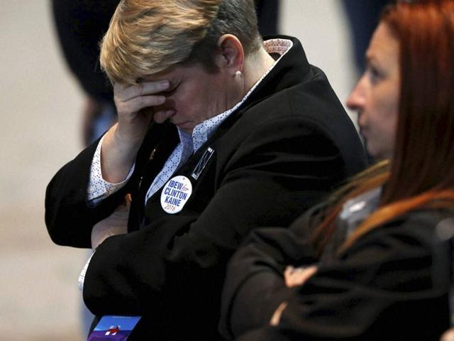 Hillary Clinton supporters react as results come in at an election night party for the Democratic presidential candidate at the Jacob K Javits Convention Center in New York, late on Tuesday, Nov  8, 2016.