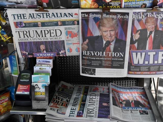 Newspapers in Sydney show the headlines of Donald Trump's election victory the day after the US presidential elections.