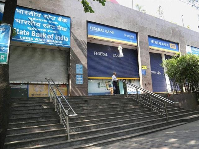 Closed banks and ATMs in Thane on Wednesday due to demonetization arrangements.