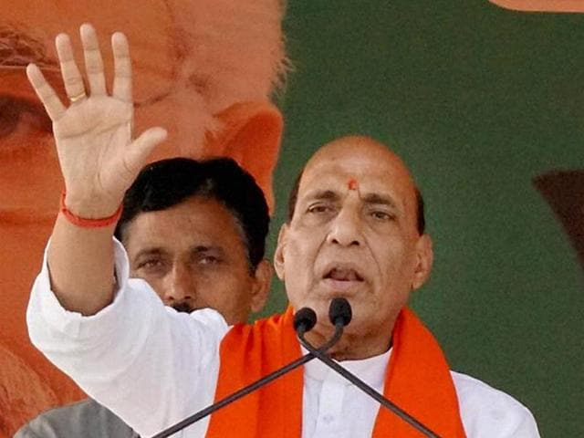 Union home minister Rajnath Singh speaks at the launch of the fourth stage of party's parivartan yatra in Ballia on on Wednesday.