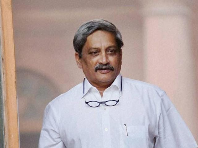 Defence minister Manohar Parrikar after a Cabinet meeting at South Block in New Delhi.(PTI File Photo)