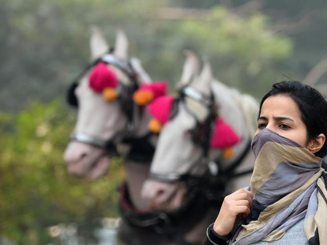A woman covers her face with a scarf as she walks down the street in New Delhi on November 10. Schools were closed in the city for three days due to rising pollution levels.